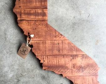 California State Sign, California Wood Sign, California State Wall Art, California Home Decor, California Art, California Rustic Sign