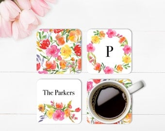 Coasters, Pretty Posies, Personalized