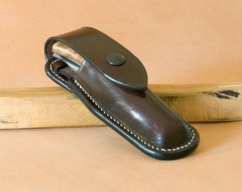 Custom hand stitched folding knife leather sheath.