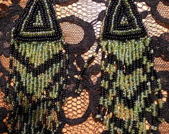 handmade beadwork lime green  earrings