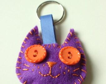 Purple Kitty Keychain