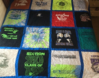 custom made Tshirt quilt/single sided (deposit)