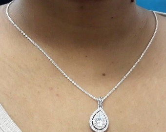 Pear double halo tear drop 925 sterling silver pendant necklace link chain jewelry