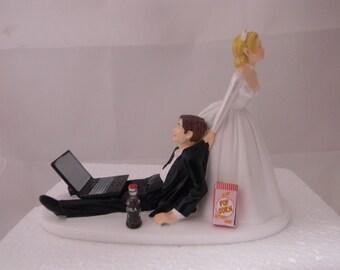 Wedding Reception Laptop Computer Nerd Geek Popcorn & Bottle of Cola Cake Topper