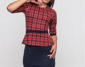 Casual  dress  for women / Red tartan dress /Red Plaid Mini Dress /Basque dress/Office dress contrast