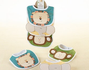 "On Safari"" Bibs , Baby Shower Gift, Bibs Gift set, Baby Clothing"