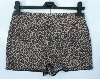 High waisted shorts, leopard print, roller derby clothing, pole dancing, burlesque costume, fitness wear, animal print, handmade, customise