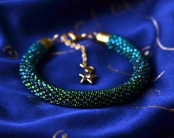 Handmade Malachite Green Crochet Beaded Bracelet With Gold Yellow Star Pendant - Ready To Ship -
