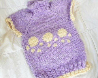 Purple and Cream Puppy Pawed Dog Knit Sweater Available in Different Colors