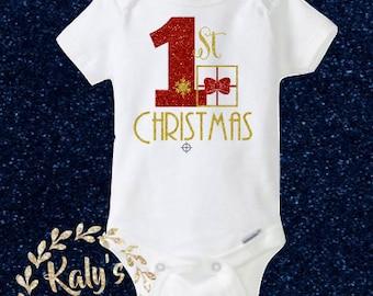 1st Christmas bodysuit, Christmas present Onesie