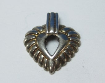 Vintage Sterling Silver Hole in a Heart Pendant