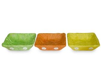 "7"" Set of 3 Green, Orange & Yellow Sisal Silk Trays- SKU # TT-AZ048156"