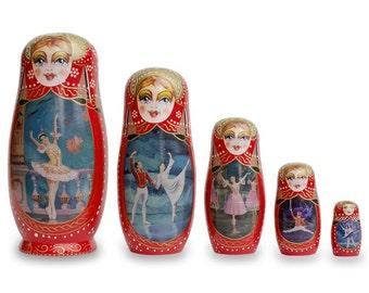 "8"" Set of 5 Russian Ballet Dancers Wooden Russian Nesting Dolls- SKU # CA366"