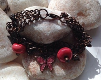 Multichain Butterfly Lampwork Bead Bracelet SRA