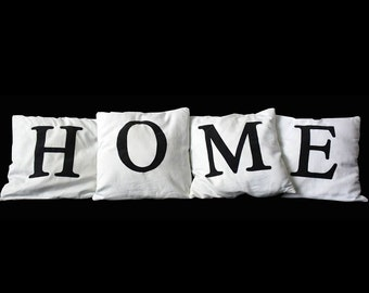"Set of 4 Pillows with initials ""HOME"""
