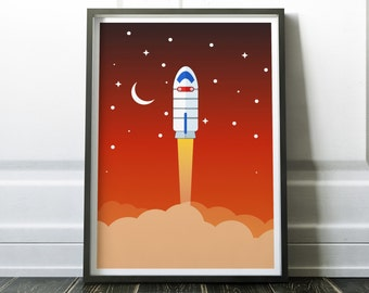 Rocket Launching into Space Print - Space Poster, Space Print, Rocket Art for Home Decor, Office Decor - Nursery Decor