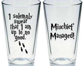 Harry Potter Inspired Pint Glass Set of 2
