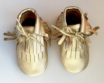 Size 2 Leather Boot Moccasins, Gold Moccs, Boot Moccasins, Baby Moccasins, Fringe Moccasins, Gold, Toddler Moccasins, Handmade Moccasins