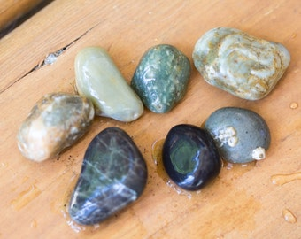 Blend of small colorful beach stones  river rocks for pendants, terrariums or rock collection