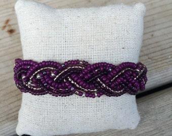 Purple beaded bracelet, braided cuff bracelet, purple cuff bracelet, purple bracelet, purple bridesmaids, plum bracelet, violet bracelet,