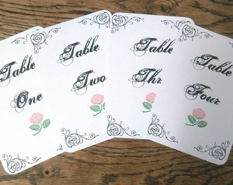 Wedding table numbers, wedding table plan, classic style table plan, rose table number cards.