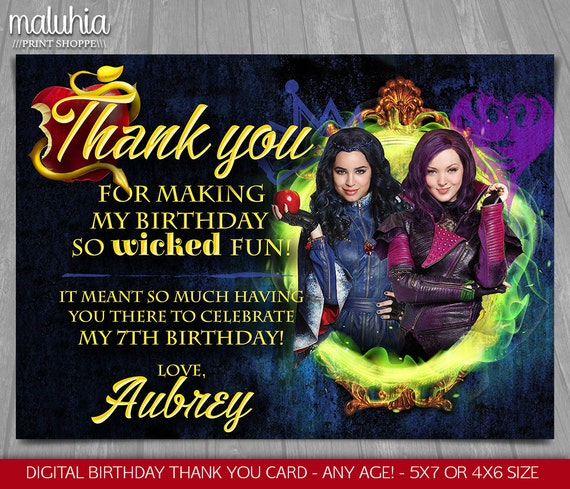 Descendants Thank You Card Disney Descendants Birthday