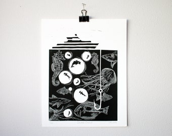 Marine Wildlife Print | Linocut Block Print | all net proceeds are donated to support marine wildlife conservation