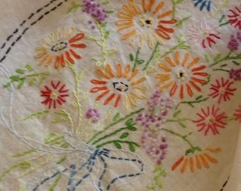 Vintage Floral Bouquet Embroidered Table Linen