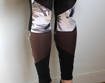 Leggings Brown and beige recycled Small Collection Gaia, Yoga leggings