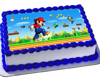 Super Mario Edible Cake Topper, Super Mario Birthday, Edible Frosting Sheet, Icing Sheet,