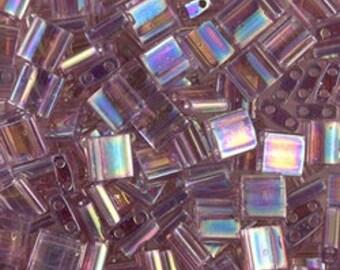 Tila Bead- Translucent Smoky Amethyst AB #256  Miyuki Tila Beads - 10 grams