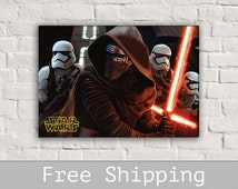 Kylo Ren Lightsaber- Star Wars VII - Canvas Print - Custom Size - Movie Canvas - Wall Decor - Free Shipping