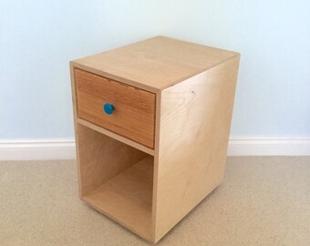Birch ply and pine bedside table