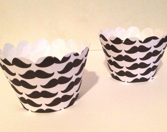 12 Mustache Cupcake Wrappers - Little Man Birthday - Little Man Baby Shower - Little Man Party Decorations - Mustache Party - Pick any color
