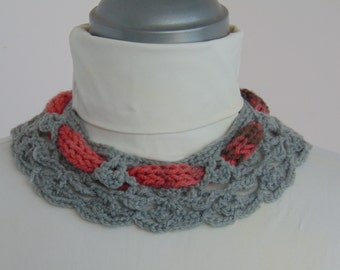 Winter Warm Bib Necklace, Knitted Collar.