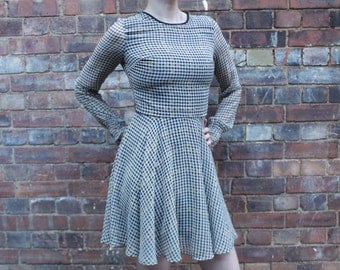 Repaired and Customised Floaty Houndstooth Dress Size 8/10