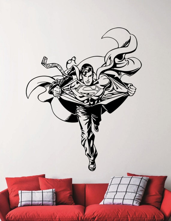 Superman wall decal superhero sticker home decorations living for Superman wall decal