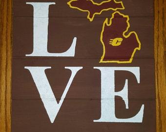 CMU Love Wood Sign