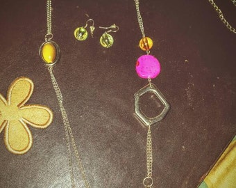 Long Necklace Set~Multicolored Stones~Silver Chain