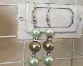 Green and Bronze stacked earrings
