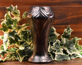 Zsolnay Style Pottery Vase, Iridescent Gunmetal Gray Stylized Deco Flowers Vase