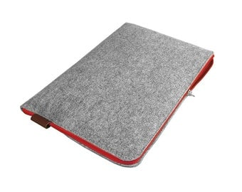 LAPTOP SLEEVE Macbook cover gray felt brown leather red zipper all sizes Macbook air 13, Macbook pro 15 inch, all laptops