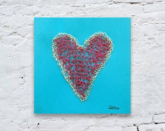 Heart Wall Art, Pink And Silver Wire Art