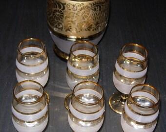 Decanter Set Vintage 1950's Decanter Set Liqueur Glasses