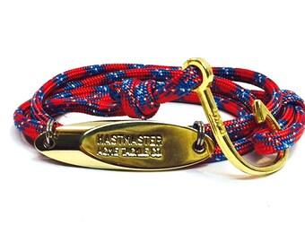 Nautical adjustable rope bracelet
