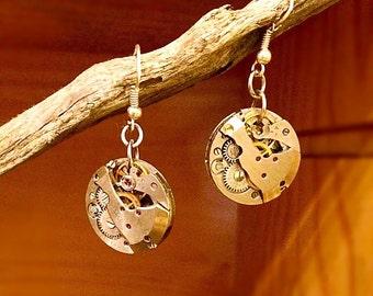 Steampunk earrings watch movement