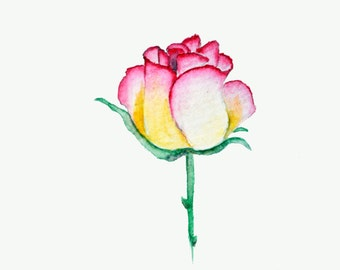 Water Color Art Print - Rose (June) - Birthday - Hostess Gift