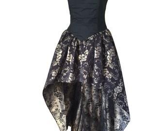 Vintage Black Gold Floral Formal Prom Dress with Full Skirt and Black Bodice
