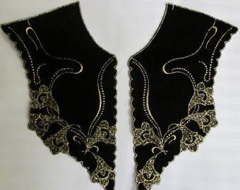 Black Velvet Collar w/gold embroidery