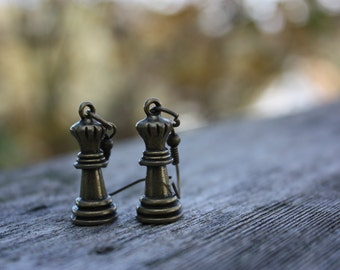 Queen Chess Piece Earrings Bronze Alloy